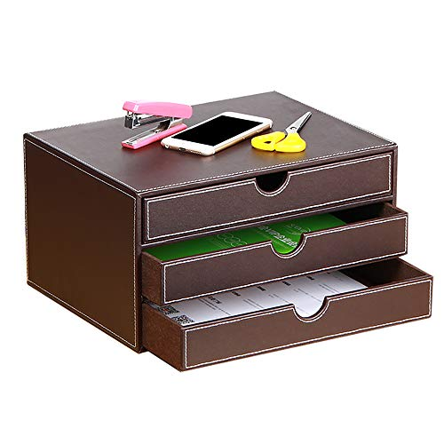Leather Desk Organizer with 3 Drawers, Executive Office Supplies Desktop Filing A4 File Cabinet/Holder, Stackable Storage Box for Jewelry/Bill/Paper/Documents/Makeup Home Decor Accessories (Brown)
