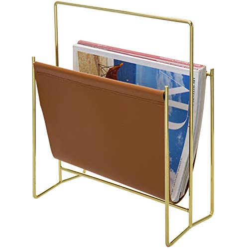 MyGift Modern Brass Plated Metal Wire and Caramel Leatherette Sling Freestanding Magazine Holder Rack