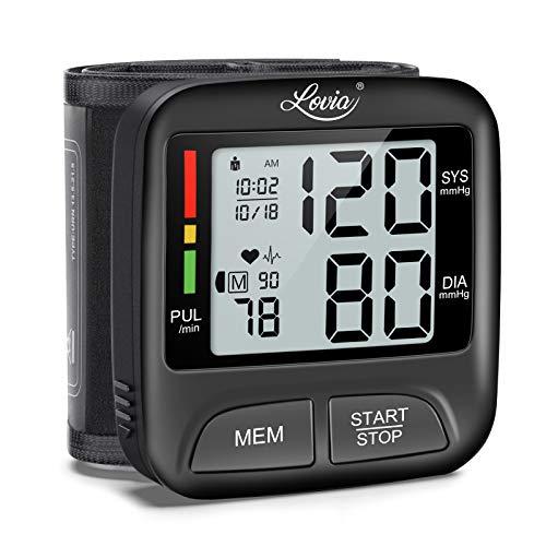 Digitale Handgelenk-Blutdruckmessgerät - Lovia Blutdruckmessgerät Vollautomatische Blutdruck- und Pulsmessung, und 2 * 180 Speicher, Warnfunktion bei möglichen Herzrhythmusstörungen