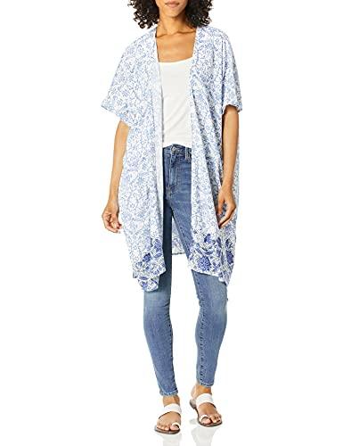 Angie Women's Boho Long Duster Kimono Cardigan, White/Blue, Small
