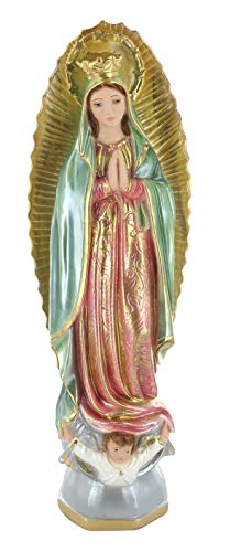Ferrari & Arrighetti Estatua Virgen de Guadalupe en Yeso Pintada a Mano - 40 cm