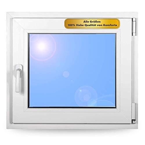 Premium Kunststofffenster Von Komforta - Kellerfenster Weiß BxH 950 x 750 mm - Garagenfenster/Gartenhaus Fenster BxH 95 x 75 cm 2-fach Verglast - Din Rechts-Funktion Dreh Kipp Fenster-Alle Größen