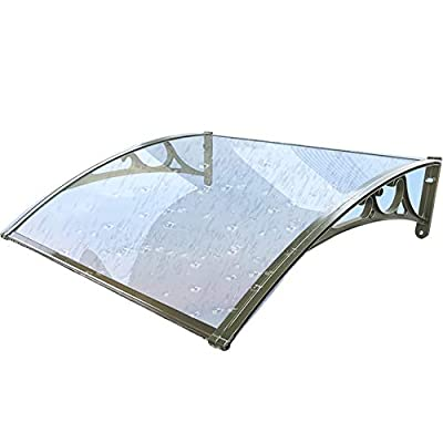 Door Eaves Awning Canopy Weather Resistant Clear Polycarbonate Sheet Rain UV Rayer Protection Shelter for Front/Back Door, with Champagne Bracket (Color : Clear, Size : 60x60cm)