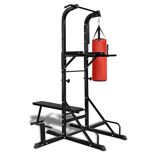 Festnight Fitness Kraftturm mit Trainingsbank und Boxsack Fitnessgerät Kraftstation Heimtrainer 182 x 125 x 218 cm
