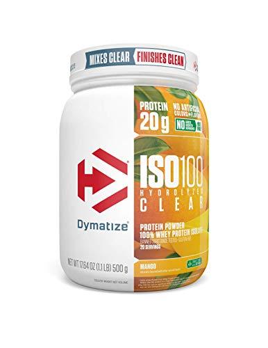 Dymatize ISO100 Hydrolyzed Clear Protein Powder, 100% Whey Protein Isolate Powder, 20g of Protein & 4g BCAAs, Gluten Free, Keto Friendly, Easy Mixing, Light & Refreshing, Mango, 1.1 lbs