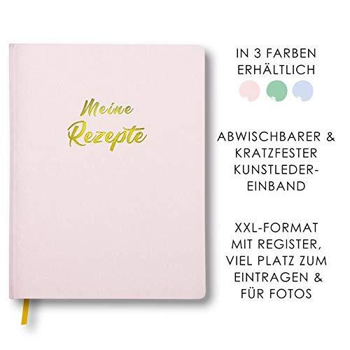 Meine Rezepte rosa: Großes Rezeptbuch zum Selberschreiben im Leder-Look mit Register und Platz für Fotos, liniert