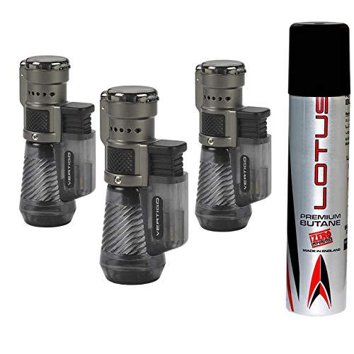 Vertigo by Lotus Cyclone Triple Torch Cigar Lighter Charcoal 3 Pack Plus 1 Lotus 90ml Butane Can