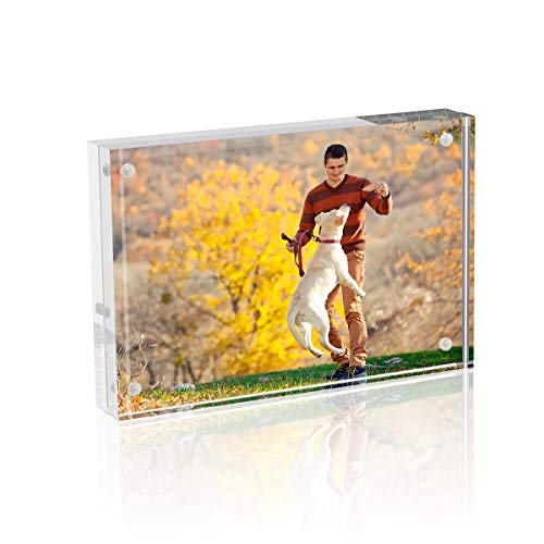 Picture Frame, TWING 4x6 Acrylic Photo Frames Horizontal Magnet Double Sided Photo Frame with Microfiber Cloth,12 + 12MM Thickness Clear Picture Frame Desktop Display