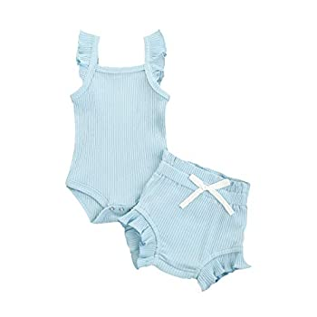 GOOCHEER Newborn Infant Baby Girl Knitted Ruffle Sleeveless Romper Ribbed Bodysuit Tank Tops Shorts Pants Summer Outfits  Blue 6-12 Months