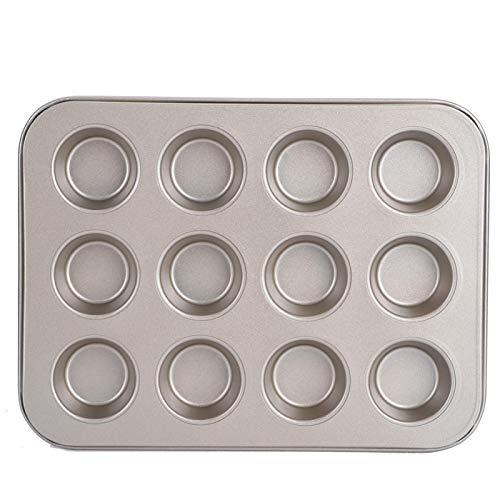 Tissting Molde Continuo Moldes para Muffins Bandeja para Hornear Pastel Pan PequeñO Acero Al Carbono Bandeja Antiadherente Redonda Herramientas para Hornear Cocina para El Hogar(TG003# C)