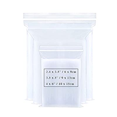 Small Ziplock Poly Bags Assorted Resealable Plastic Zipper Bags for Jewelry Beads Candy 2 Mil Clear