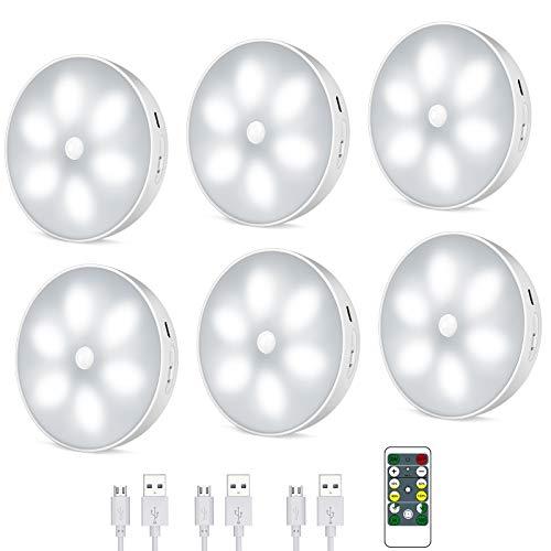 Uooser LED Nachtlicht mit Bewegungsmelder,LED Schrankbeleuchtung mit Fernbedienung,USB Wiederaufladbar Schranklicht mit Auto/ON/Off Modi,Intelligente Innenbeleuchtung(6 Stück)