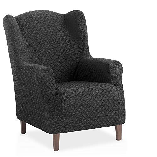 Bartali Stretchhusse für Ohrensessel Olivia - Farbe Grau - 1 Sitzer (von 70 bis 110 cm)