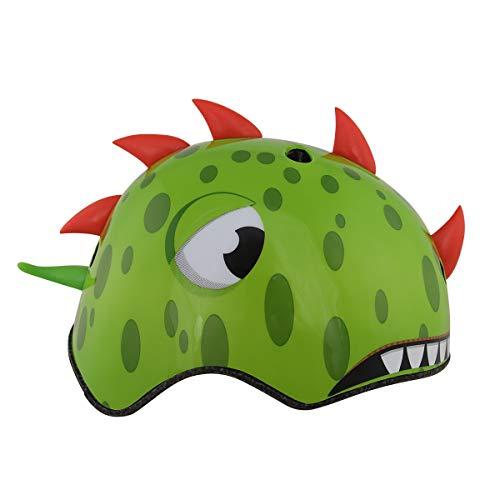 XKMY Casco para niños con forma de dinosaurio de dibujos animados para bicicleta, transpirable, para niños, ciclismo, niños y niñas (color: verde, tamaño: S)