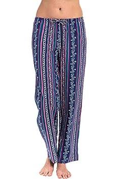 Alexander Del Rossa Women s Flannel Pajama Pants Long Cotton Pj Bottoms Medium Floral Stripes  A0702R97MD