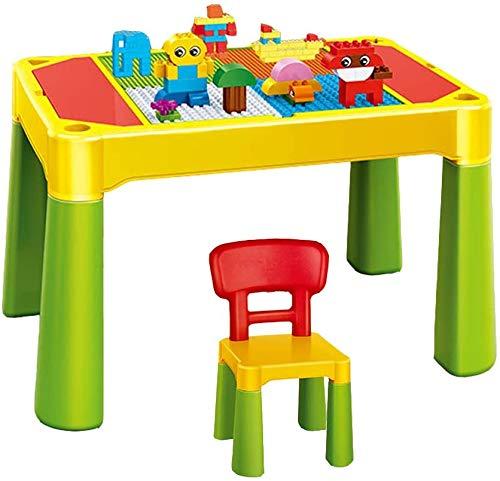 JIAFENG Mesa de acumulación de Montaje de Mesa DIY Bloques Silla de múltiples Funciones de los niños establecidos para los niños, Actividades Estudio de la Oficina de Memoria compatibles 4-en-1