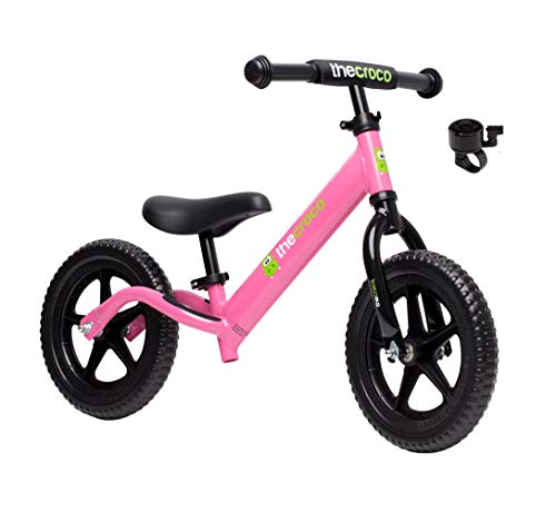 TheCroco Lightweight Balance Bike for Toddlers and Kids… (Pink, Premium Aluminum)