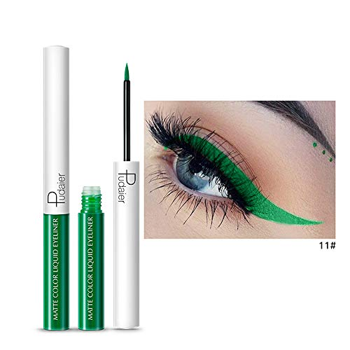Pudaier 15 couleurs Métallisé brillant yeux fumés ombre à paupières imperméable liquide eyeliner (#11)
