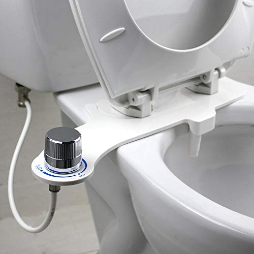Toilet Seat Attachment Bidet for Rear Washing. Non-Electric, Fresh Water Bidet with Retractable, Self Cleaning Nozzle. Control Pressure with Knob. Easy to Install and Use, Saves on Toilet Paper.