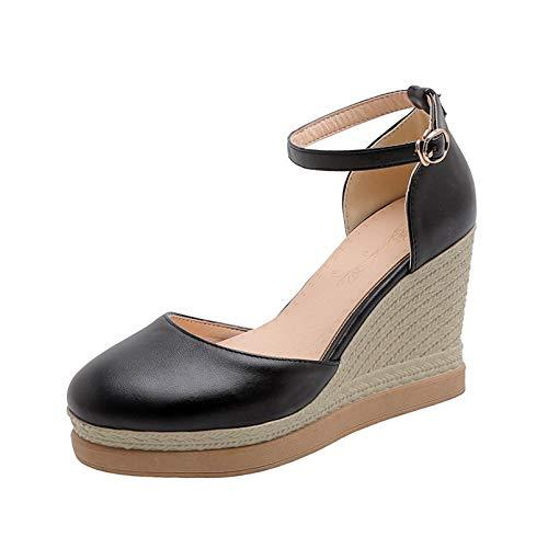 Zapatos Gruesos para Mujer, Plataforma de cuña, Informal, sucinto, Primavera Verano, Hebilla al Aire Libre, Tacones Altos, Sandalias Transpirables para Vestir