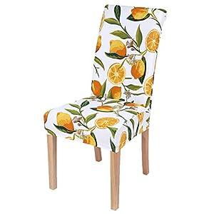 Smiry - Juego de 4 fundas elásticas para sillas de comedor y licra, color amarillo limón