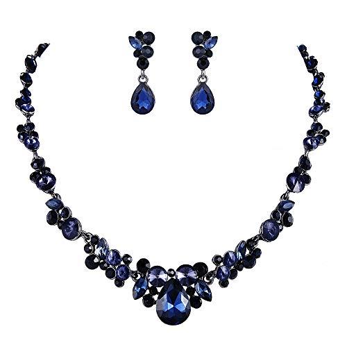 EVER FAITH Women's Austrian Crystal Bridal Floral Teardrop Necklace Earrings Set Dark Blue Black-Tone 20.2''