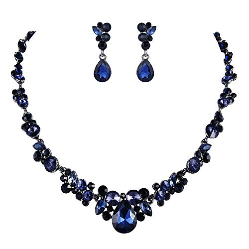 EVER FAITH Women's Austrian Crystal Bridal Floral Teardrop Necklace Earrings Set Dark Blue Black-Tone 20.2''