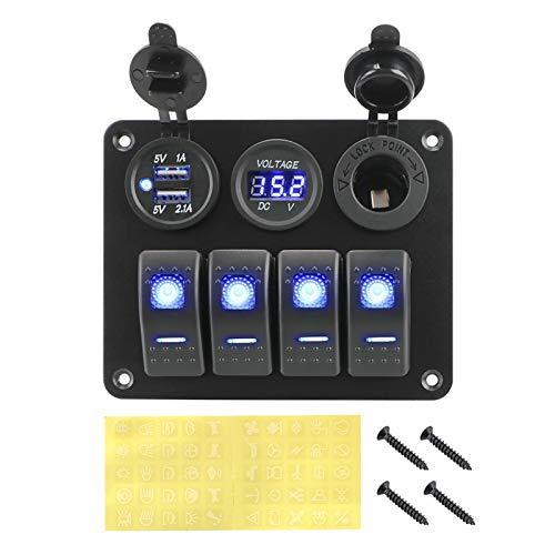 Little Oriental 4 / 5GANG LED Panel de interruptores de Rocker LED DIGITAL VOLTÍMERO DE CIRCUITO DE ALUMINIO PUERTO DE ALUMINIO DUAL USB Puerto Impermeable Accesorios interiores ( Color : Blue )