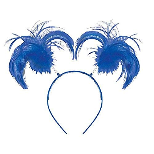 amscan Feathers & Ponytails Headband Costume Party Headwear Accessory, Blue, Plastic, 5  X 8 . Costume, One Size (399414.22)