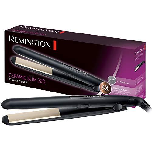 Remington Ceramic Slim S1510 - Plancha de Pelo, Cerámica Antiestática, Placas Turmalina, Capa Protectora Teflón, Negro