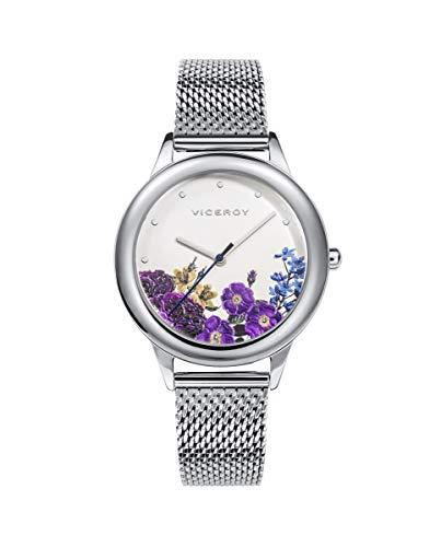 Viceroy Chic - Reloj de Acero para Mujer Malla Milanesa Esfera Flores 42408-87
