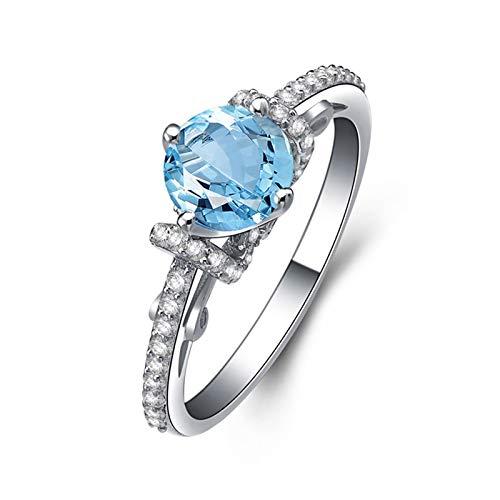 Beydodo Anillo de Plata de Ley Mujer,Anillo de Compromiso Mujer Azul Plata Redondo 6.5MM Topacio Azul Blanco Anillo Talla 6,75-25