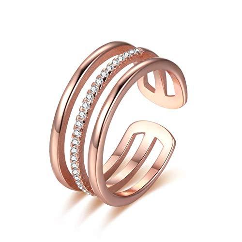 Likass Sterling Silber Ring 925 Sterling Silber Schmuck-Jubiläum Versprechen Ehering Verlobungsring -Beste Geburtstags Damen-Einfacher Goldring