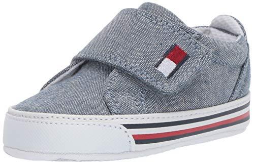 Tommy Hilfiger Baby Layette Kids' HERRITAGE Toddler First Walker Shoe, Blue Chambray, 3 Regular US Infant