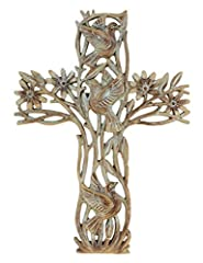 "11"" tall x 8"" wide decorative garden of life wall cross. Metal hanger on back for easy, secure mounting. Beautiful carved wood faux finish with dove and flower details. Made from poly-resin material - no sharp edges, will not rust! Makes a great gift..."