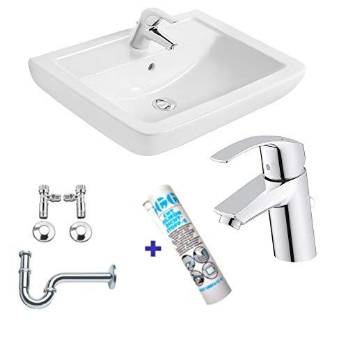 Waschbecken - Waschtisch - 60cm Ideal Standard mit Lotus Beschichtung - Grohe Armatur Komplettset - Siphon - Silikon!