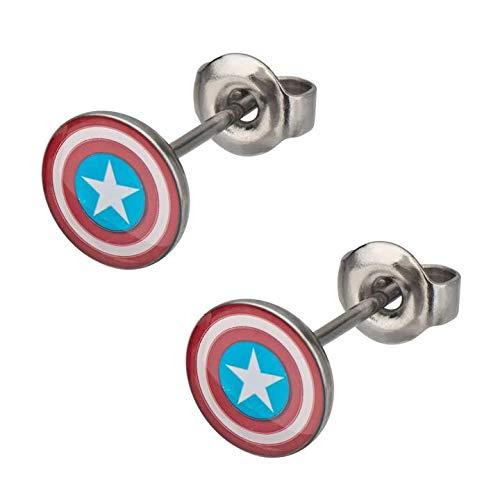 BodyVibe Captain America Ohrstecker aus 316L Chirurgenstahl, 18 g