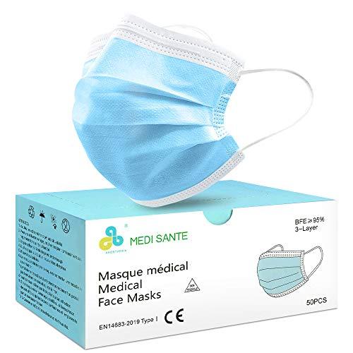 Lot de 50 Masque Chirurgical médical Masque de Protection Masque jetable Type I EN14683, BFE≥95%, 3 Plis ANESTHESIA Ans