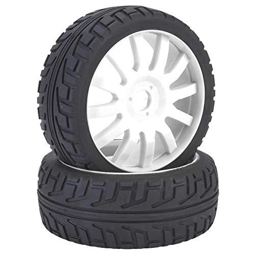 VGEBY1 2 Piezas de Llantas, neumáticos de Goma para bujes de Ruedas de Autos de Carreras para 1/8 en Carretera RC(Blanco)