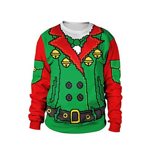 Fiesta de la familia de Navidad creativa de la diversión de la camisa 3D falsa de dos piezas suéter impreso unisex de manga larga sudadera