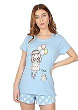 Santoro Pijama Manga Corta I Wish para Mujer, Color Azul, Talla M