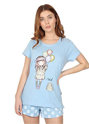 Santoro Pijama Manga Corta I Wish para Mujer, Color Azul,