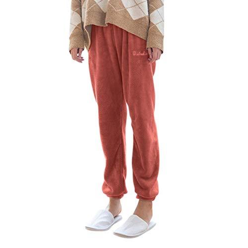 Damen einfarbig Korallen Fleece Home Hosen Pyjama einfarbig bequem (Rot, One Size)