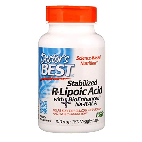 Doctor's Best Stabilized R-Lipoic Acid with BioEnhanced Na-RALA, Non-GMO, Gluten Free, Vegan, Helps Maintain Blood Sugar Levels, 100 mg 180 Veggie Caps