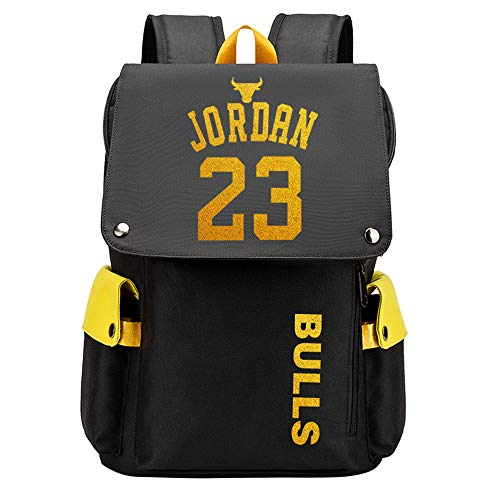 Lorh s store Patrón de Jugador de Baloncesto Jordan Escuela de Viaje Multifuncional Solapa Mochila Ventiladores Estudiante Mochila para Hombres Mujeres (Patrón Amarilla 1)