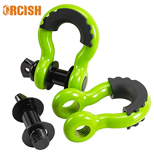 ORCISH Shackles 3/4 inch D Ring Shackle with Black Isolator Washer, 4.75 Ton Off Road Heavy Duty Orange Shackle Kit for Vehicle Recovery, Towing, Stump Removal (Green)