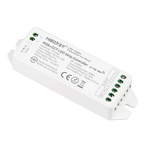 LIGHTEU®, Milight Miboxer 2,4 GHz RGB + CCT RGB Farbtemperatur 2700-6500K Controller DC12V / 24V Ausgang max. 12A, DMX512 steuerbar, FUT039