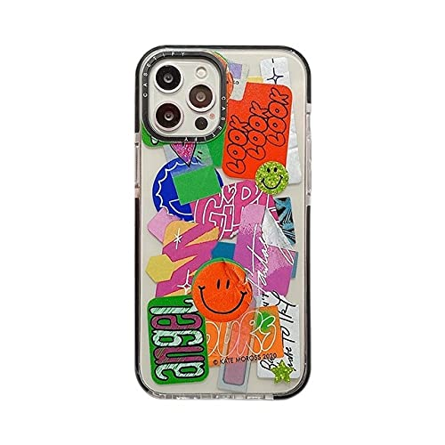 GGOIl Fashion Art Smile Face Stars Funda de Silicona Suave para teléfono para iPhone 11 Pro MAX 12 Mini XS X XR 7 8 Plus SE 2020 Funda de Lujo, Cara de Sonrisa Coloreada, para iPhone 12 Mini