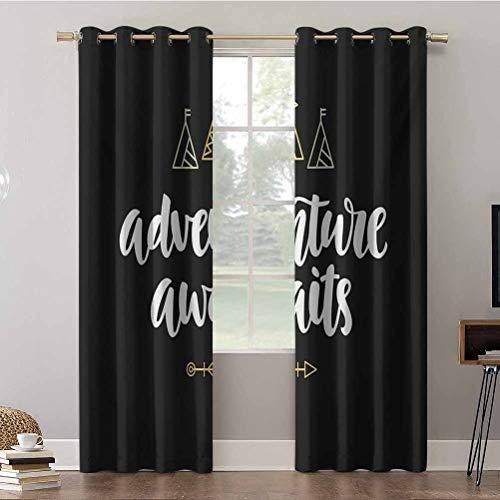 Cortinas opacas, 52 x 63 x 63 cm, aislantes para oscurecer la habitación y la aventura espera la caligrafía moderna con carpas de garabato y una cortina opaca para decoración del hogar (2 paneles)