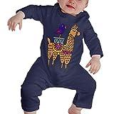 TJKK Baby-Strampler mit süßem Lama- und Vogel-Motiv, langärmelig Gr. 2 Jahre, einfarbig